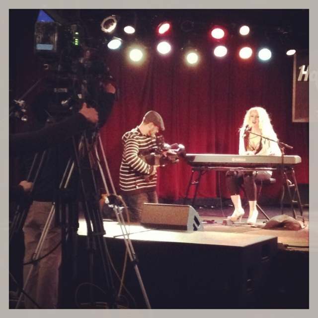 Filming an Acoustic set at the Hard Rock Cafe last year for Rogers TV.